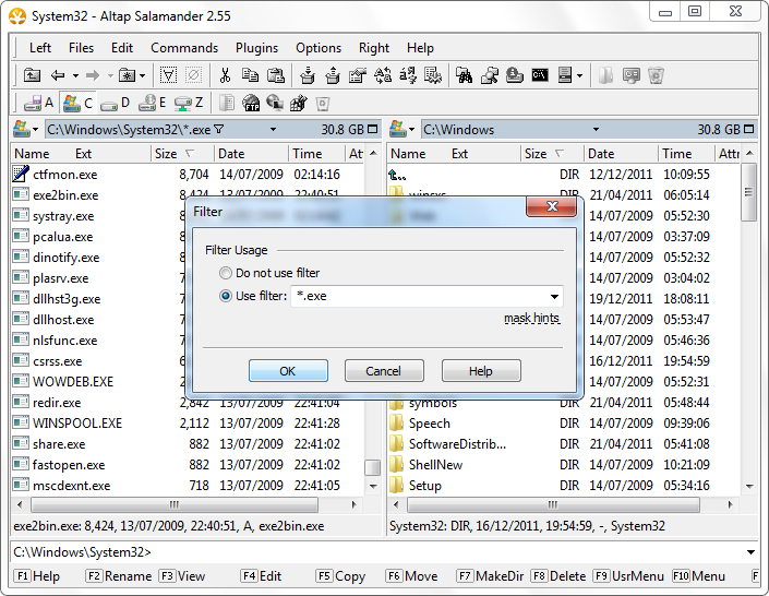 Filter file names to *.exe with Altap Salamander